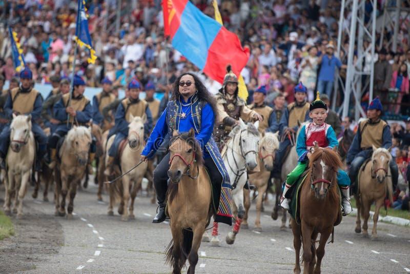 ULAANBAATAR, het Festival van MONGOLIË Naadam stock foto's