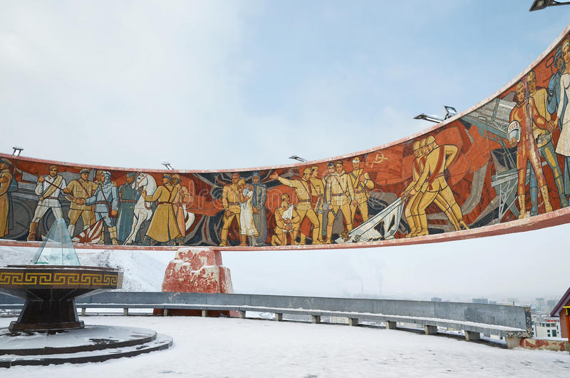 Ulaanbaatar, Mangan - Dezember, 02 2015: Gedächtnis komplexes Zaisan auf dem tuffet von Ulaanbaatar Mongolei lizenzfreies stockbild