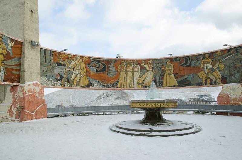Ulaanbaatar, Mn - 02 Dec, 2015: Geheugen complexe Zaisan op tuffet van Ulaanbaatar Mongolië royalty-vrije stock afbeeldingen