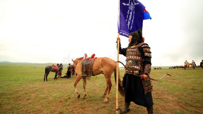 ULAANBAATAR, MONGOLIA - JULY 2013: Naadam Festival Horse Archery Crew royalty free stock images