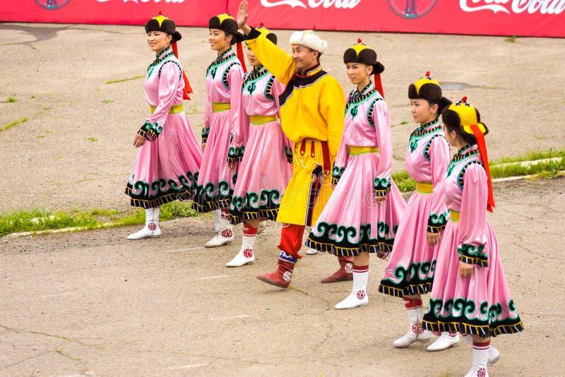 Naadam Festival Opening Ceremony Women Pink Dress stock image