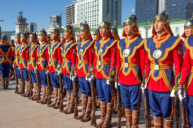Ulaanbaatar/Mongolia-11.08.2016:The parade on the main square in Ulaanbaatar. Soldiers are dressed in the traditional uniform and royalty free stock images