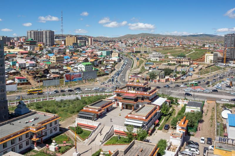 Ulaanbaatar/Mongolia-11.08.2016:The view on Ulaanbaatar from the rooftop royalty free stock image