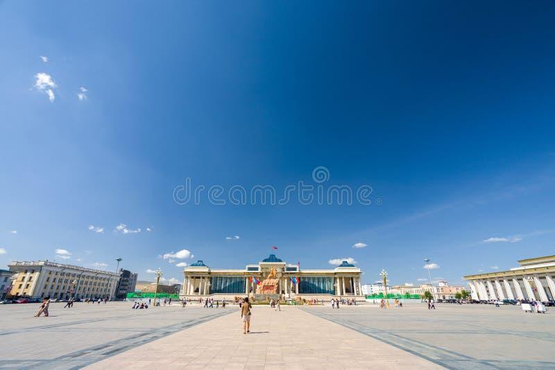 Ulaanbaatar van de binnenstad Chinggis Vierkant Mongolië stock afbeelding