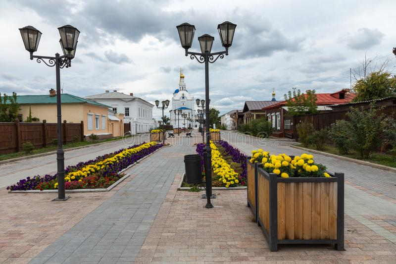 ULAN UDE, RUSLAND - SEPTEMBER 06, 2019: Kathedraal van Onze Vrouwe van Smolensk of de kathedraal van Odigitrievsky in Ulan Ude, R royalty-vrije stock foto's