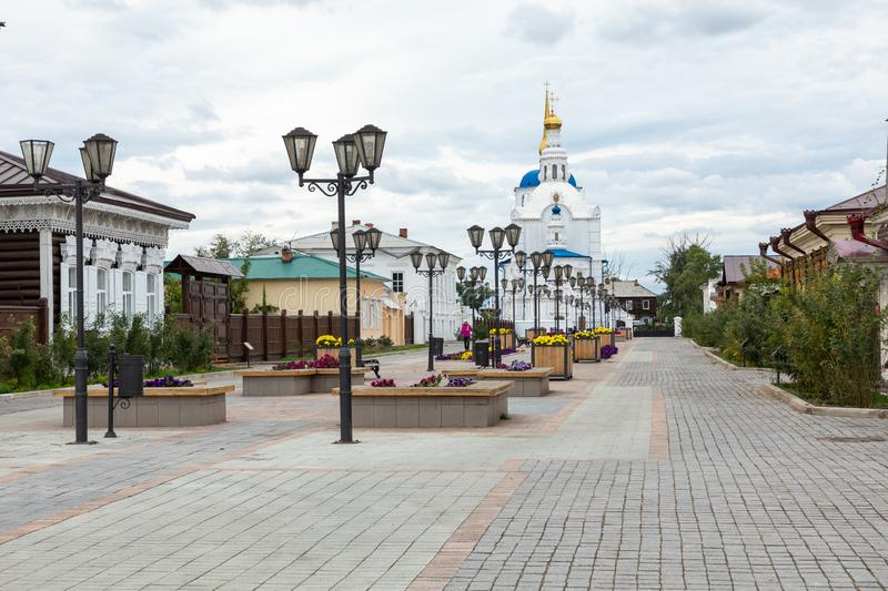 ULAN UDE, RUSSIA - SEPTEMBER 06, 2019: Cathedral of Our Lady of Smolensk or Odigitrievsky Cathedral in Ulan Ude, Russia. KAZAN, RUSSIA - SEPTEMBER 08, 2019 royalty free stock photos