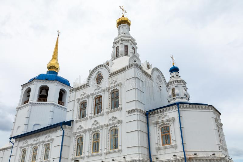 ULAN UDE, RUSSIA - SEPTEMBER 06, 2019: Cathedral of Our Lady of Smolensk or Odigitrievsky Cathedral in Ulan Ude, Russia. KAZAN, RUSSIA - SEPTEMBER 08, 2019 royalty free stock photo