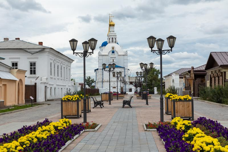 ULAN UDE, RUSSIA - SEPTEMBER 06, 2019: Cathedral of Our Lady of Smolensk or Odigitrievsky Cathedral in Ulan Ude, Russia. KAZAN, RUSSIA - SEPTEMBER 08, 2019 stock photos