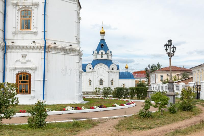 ULAN UDE, RUSSIA - SEPTEMBER 06, 2019: Cathedral of Our Lady of Smolensk or Odigitrievsky Cathedral in Ulan Ude, Russia. KAZAN, RUSSIA - SEPTEMBER 08, 2019 royalty free stock image