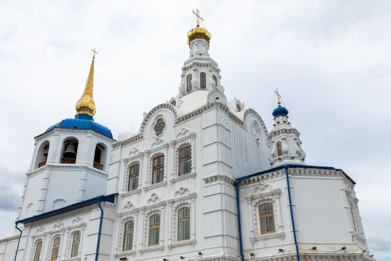 ULAN UDE, RUSSLAND - SEPTEMBER 06, 2019: Kathedrale von Smolensk oder Kathedrale von Odigitrievsky in Ulan Ude, Russland lizenzfreies stockfoto