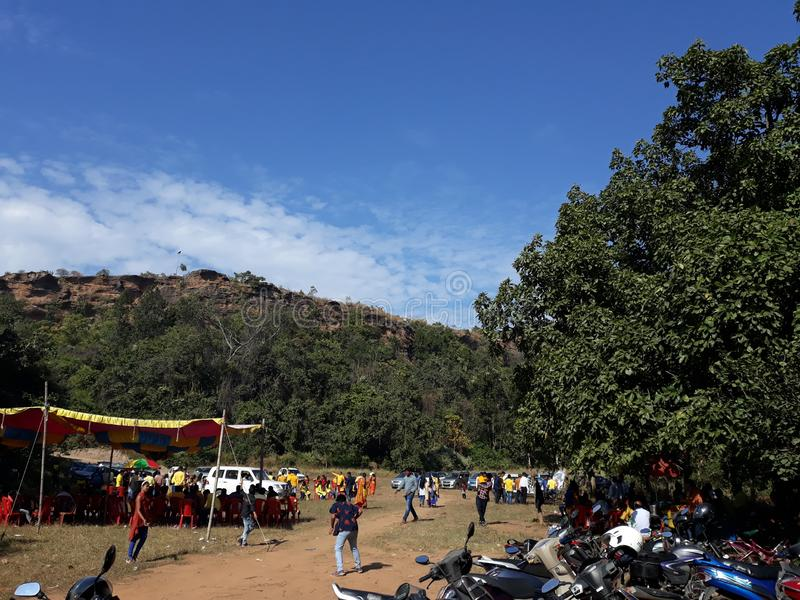 Ulapgarh picnic spot near belpahar, odisha hill and Sky scenes in the evening of india. It is the hill of ulap garh hill  scenes of the sky in the evening of stock photography