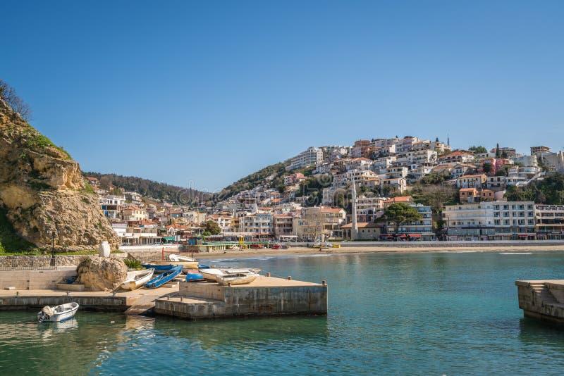 Ulcinj miasteczko w zatoce i plaży zdjęcia royalty free