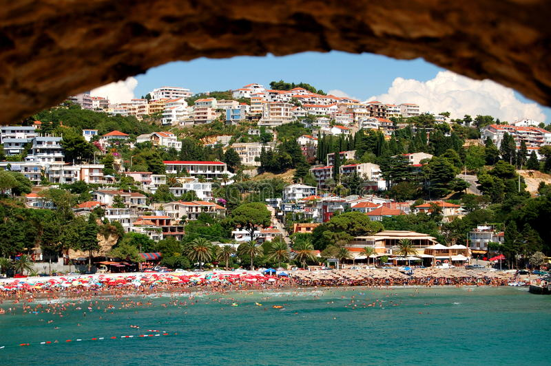 ulcinj montenegro пляжа стоковое изображение rf