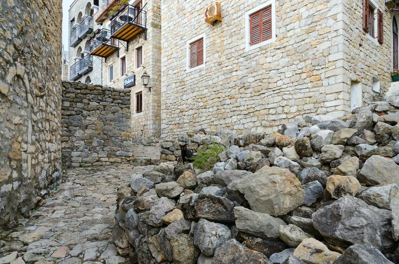 Narrow street in Old Town, Apartment Debora, Ulcinj, Montenegro royalty free stock photo