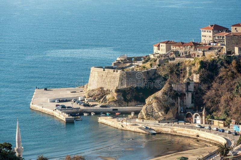 Ulcinj Stary grodzki półwysep, Montenegro obraz royalty free