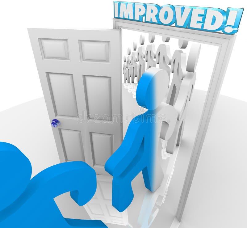 Ulepszający ludzie Chodzi przez drzwi ulepszenia zmiany ilustracji