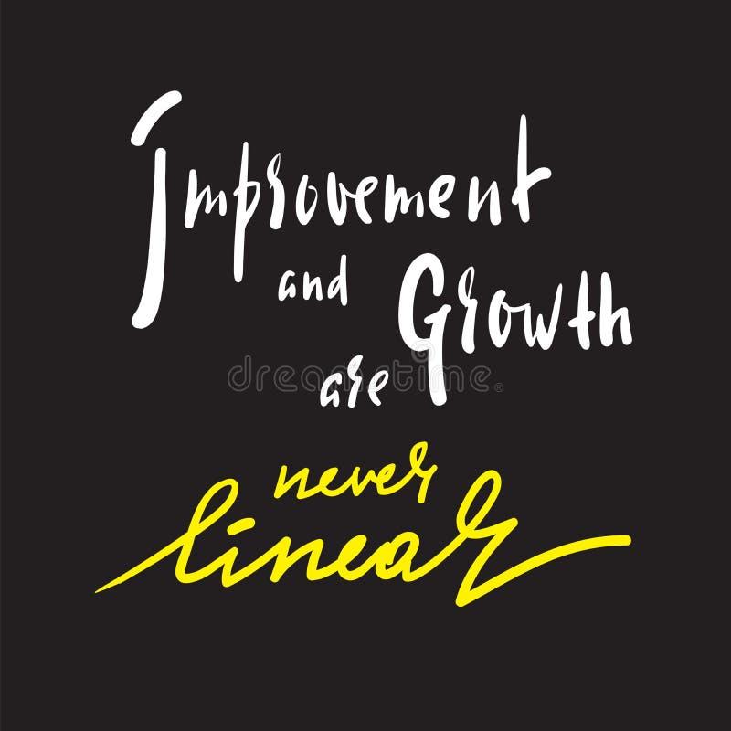 Ulepszenie i przyrost jesteśmy nigdy liniowi - inspiruje motywacyjną wycenę ilustracja wektor