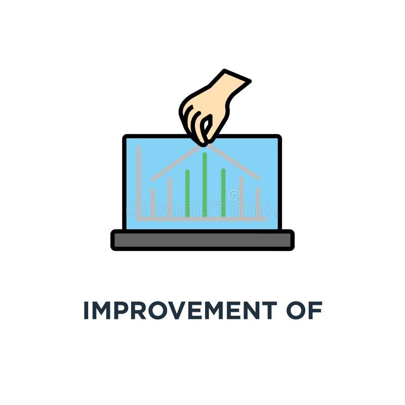 ulepszenie wskaźnik ikona utrzymywać wydajności pojęcia symbolu projekt, wzrost w produktywności, przyrost wykresy royalty ilustracja