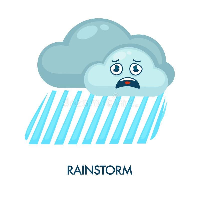 Ulewa symbol z zmroku ulewnym deszczem i chmurami royalty ilustracja