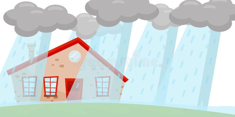 Ulewnego deszczu wylew utrzymania dom Ogromne szarość chmury suchego klimatu katastrofa naturalny Thailand Sytuacja awaryjna Płas ilustracji