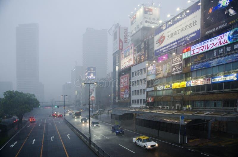 Ulewny deszcz w Gifu mieście, Japonia obraz stock