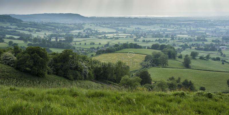 Uley - View over Downham Hill viewed from Uley Bury, Cotswold Outliers near Dursley, Gloucestershire. England stock images