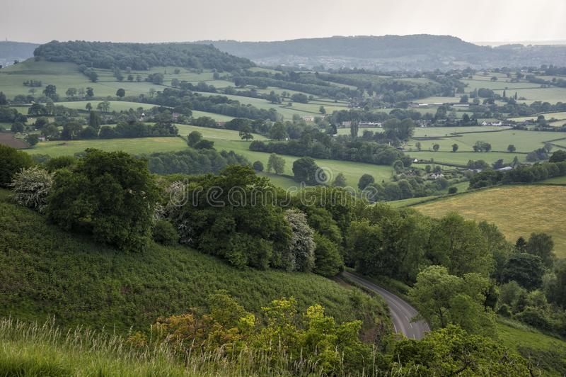 Uley - View over Downham Hill viewed from Uley Bury, Cotswold Outliers near Dursley, Gloucestershire. England stock image