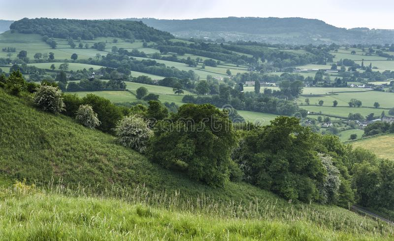 Uley - View over Downham Hill viewed from Uley Bury, Cotswold Outliers near Dursley, Gloucestershire. England royalty free stock photography