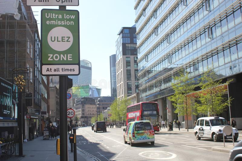 ULEZ, London, UK - April 9 2019: ULEZ Ultra low emission zone new charge London prepare for new Ultra Low Emission Zone ULEZ. With warning signage in central royalty free stock photos