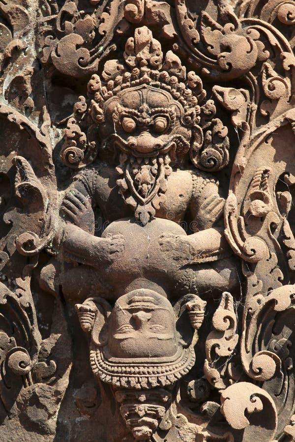 Ulga Angkor świątynia, Siem Przeprowadza żniwa, Kambodża (Banteay Srei) fotografia royalty free