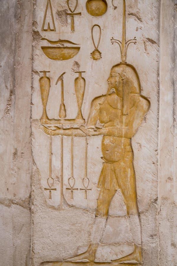 Ulgi na ścianach świątynia Hatshepsut zdjęcie stock