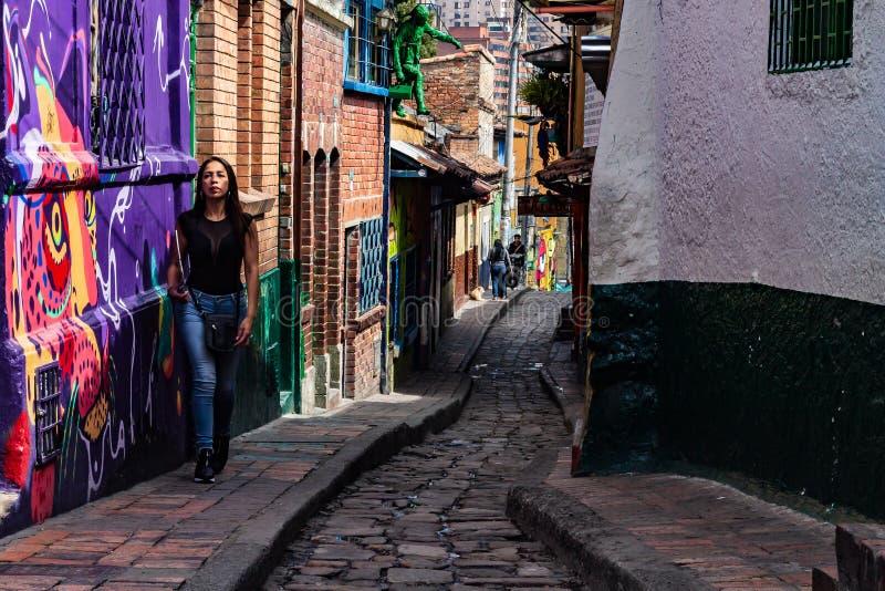 Ulica «El Embudo «Tulejowy Bogota Kolumbia zdjęcia stock
