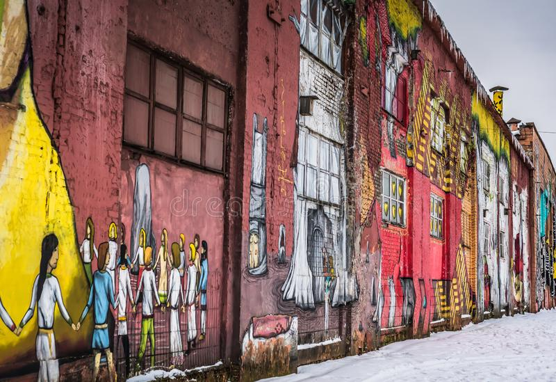 Ulica ścienni graffiti w Minsk Białoruś zdjęcie stock