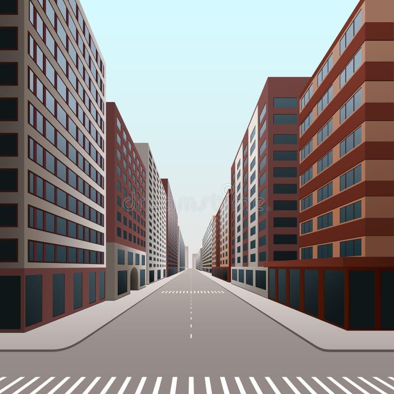 Ulica, śródmieście z budynkami biurowymi i sklepy, ilustracji