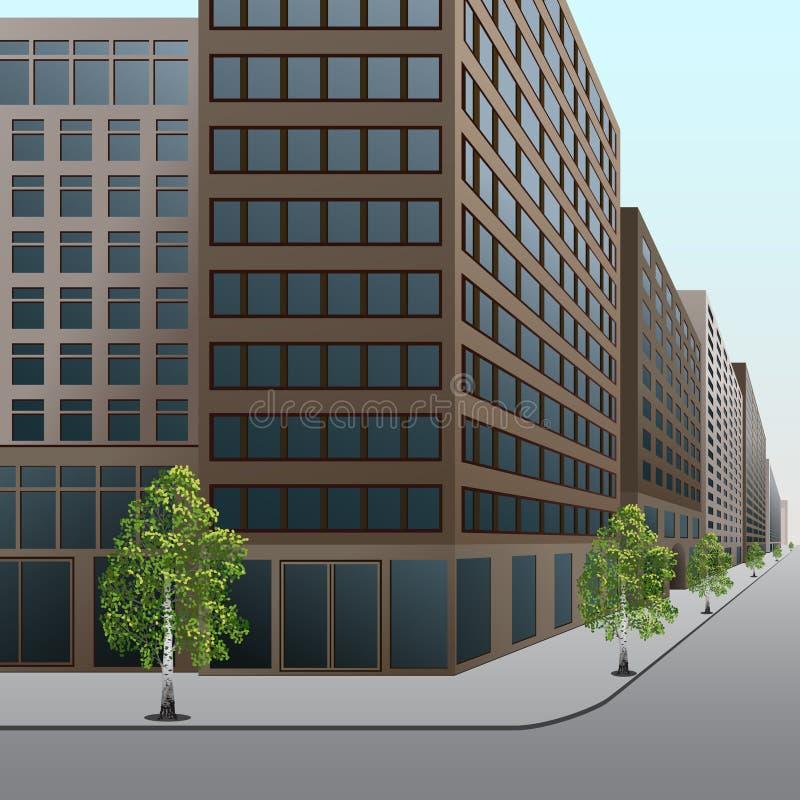 Ulica, śródmieście z budynkami biurowymi i sklepy, royalty ilustracja