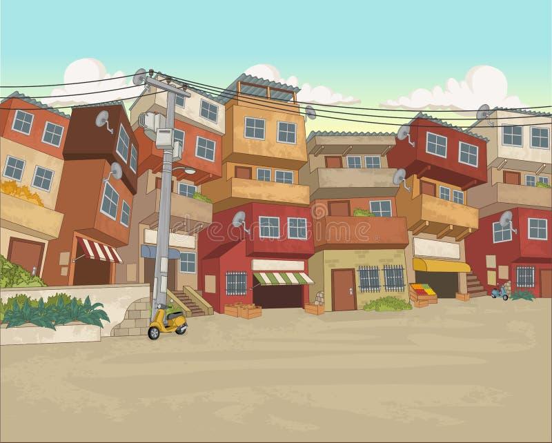 Ulica biedne sąsiedztwo w mieście royalty ilustracja