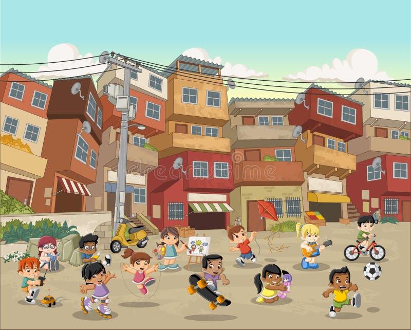 Ulica biedne sąsiedztwo z kreskówek dzieci bawić się ilustracja wektor