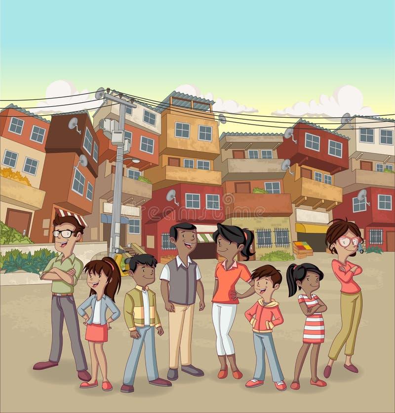 Ulica biedne sąsiedztwo z kreskówka szczęśliwymi murzynami royalty ilustracja