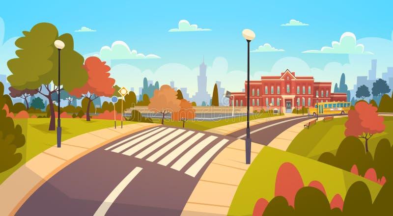Ulica budynku szkoły Krajobrazowa Nowożytna powierzchowność Z Crosswalk powitaniem Z powrotem edukaci pojęcie ilustracji