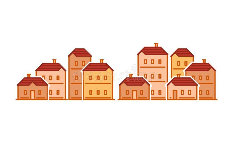 Ulica domy, stary miasteczko, mieszkaniowy okręg, nieruchomość wektoru ilustracja ilustracja wektor