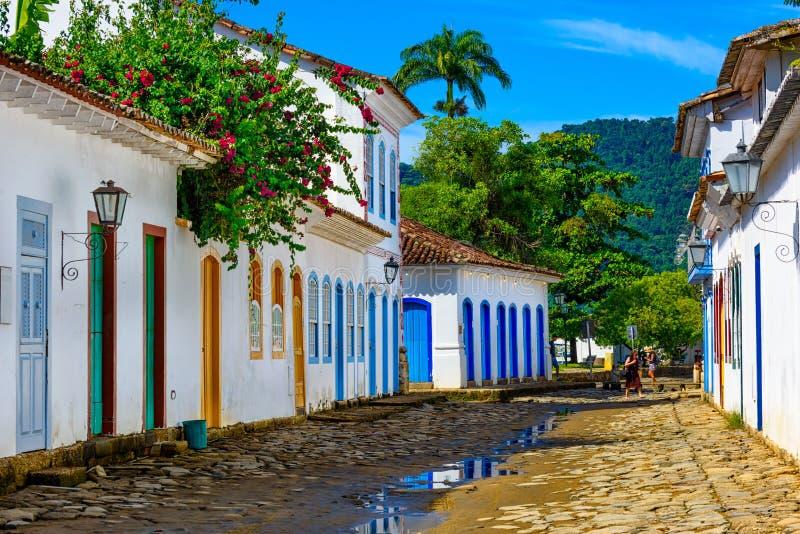 Ulica dziejowy centrum w Paraty, Rio De Janeiro, Brazylia obraz royalty free