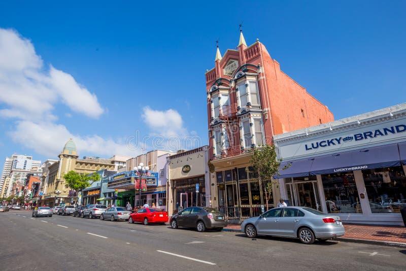 Ulica Gaslamp ćwiartka w San Diego zdjęcia stock