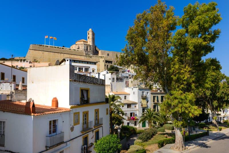 Ulica i szczegóły starego miasta Ibiza zdjęcie stock