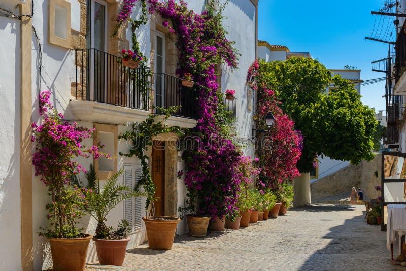 Ulica i szczegóły starego miasta Ibiza obrazy stock