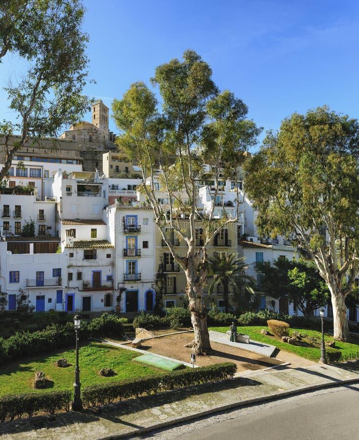 Ulica i szczegóły starego miasta Ibiza zdjęcia royalty free