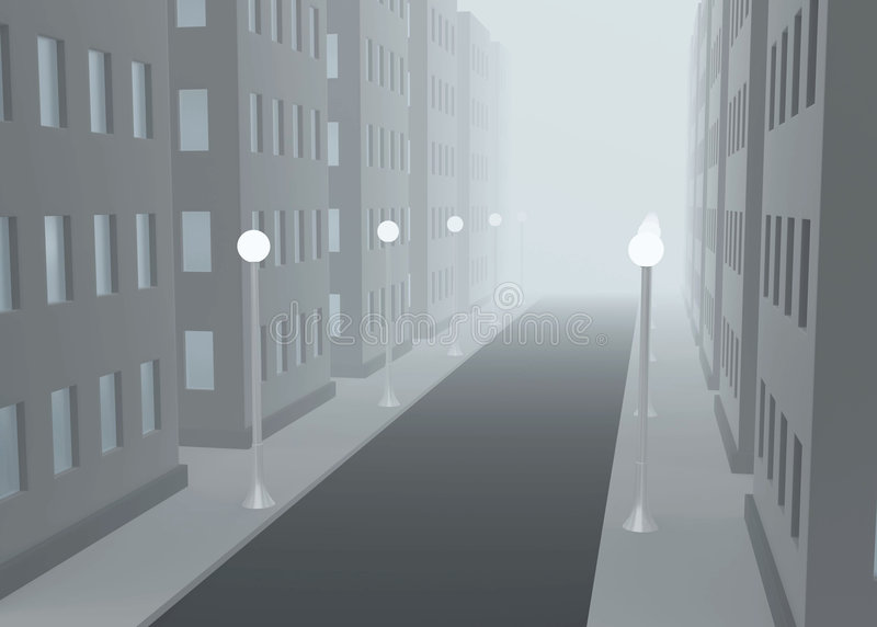 ulica mgłowa ilustracji
