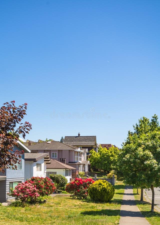 Ulica mieszkaniowi domy na słonecznym dniu w kolumbia brytyjska zdjęcia stock
