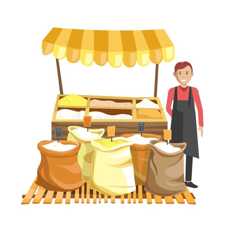 Ulica odpierająca z namiotowy pełnym zboża w workach i sprzedawcy w czarnym fartuchu ilustracja wektor