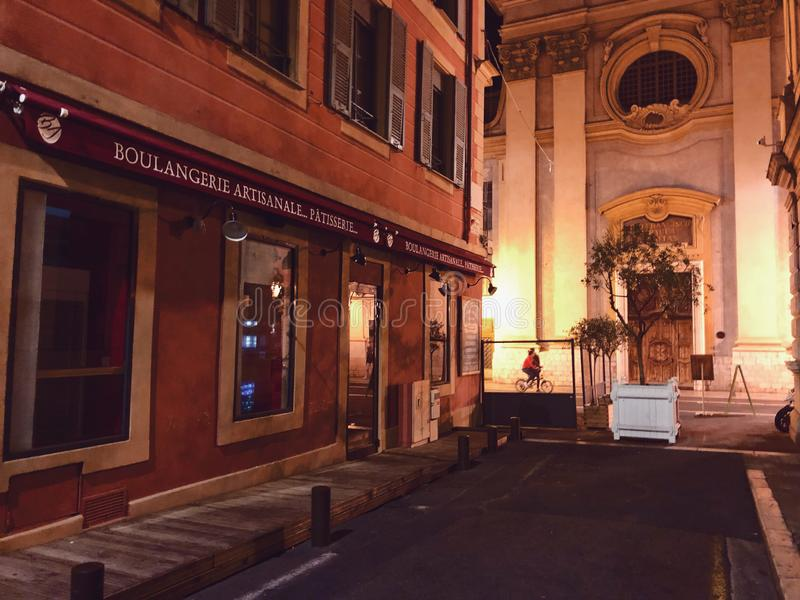 Ulica przy noc? ?adn?, Francja obraz royalty free
