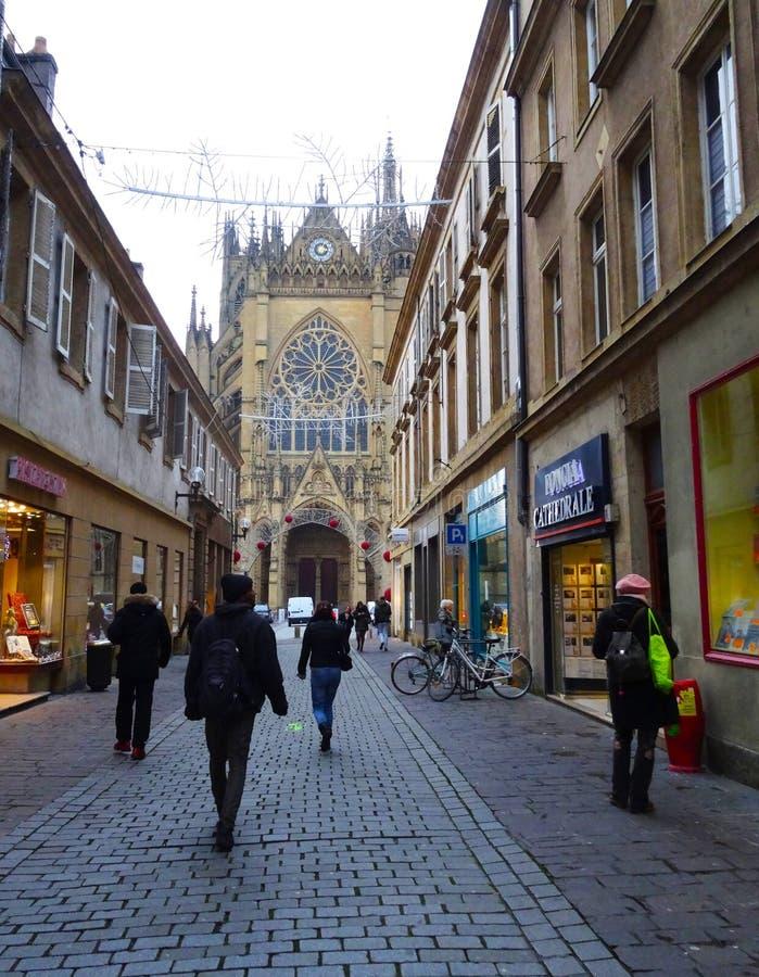 Ulica przy starym Metz, Francja zdjęcie stock
